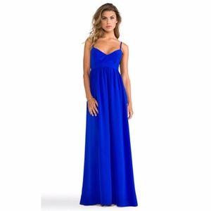Amanda Uprichard Royal Blue Silk Evening Gown L
